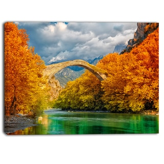 Designart - Konitsa Bridge  Photography Canvas Art Print