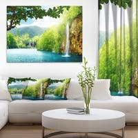 Designart - Waterfall in Deep Forest - Landscape Photography Canvas Print - Blue