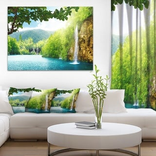 Designart - Waterfall in Deep Forest - Landscape Photography Canvas Print