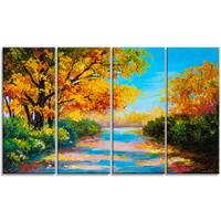 Designart - Autumn Forest with Colorful River - 4 Piece Landscape Canvas Print - Blue