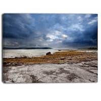 Designart - Norway Ocean Coast Land  Photo- Landscape Canvas Print - Blue