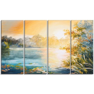 Designart Sunset on the Lake 4 Piece Landscape Canvas Art Print
