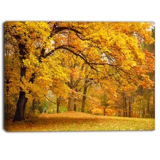 Designart - Golden Autumn Forest - Landscape Photo Canvas Print - Yellow