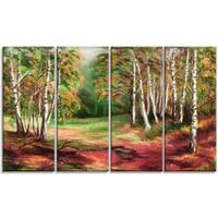 Designart - Green Autumn Forest - 4 Piece Landscape Canvas Art Print