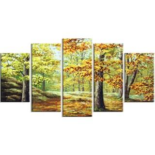 Designart - Autumn Wood - 5 Piece Landscape Canvas Art Print
