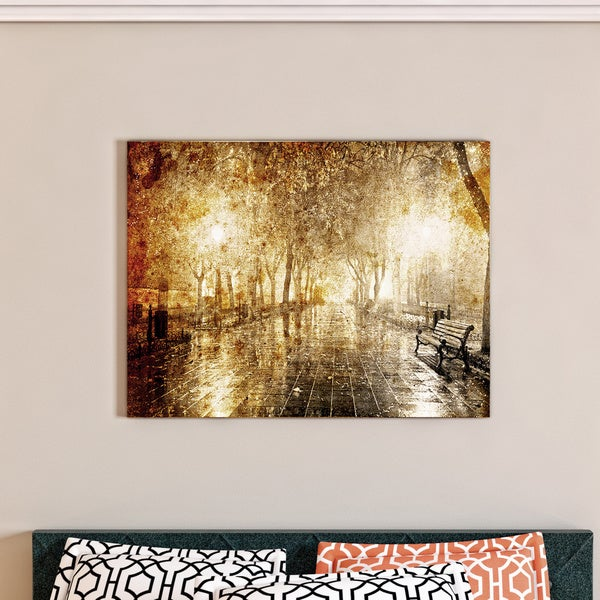 Porch & Den Night Alley with Lights' Photography Landscape Canvas Print