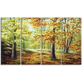 Designart - Autumn Wood - 4 Piece Landscape Canvas Art Print