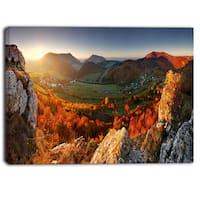 Designart - Autumn Mountains Panorama  Photo Canvas Art Print - Red