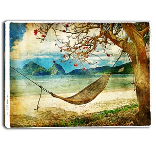 Designart - Tropical Sleeping Swing Digital Art- Landscape Canvas Print