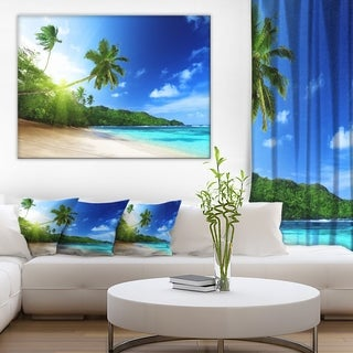 Designart - Sunset Beach with Palm - Landscape Photography Canvas Print