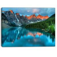 Designart - Moraine Lake Sunrise - Landscape Photography Canvas Print - Blue