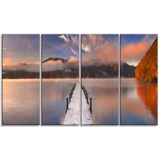 Designart - Jetty in Lake Japan - 4 Panels Seascape Photography Canvas Print