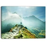 Designart - Mountains Landscape  Photography Canvas Art Print - Blue