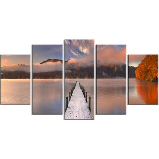 Designart - Jetty in Lake Japan - 5 Piece Seascape Photography Canvas Print