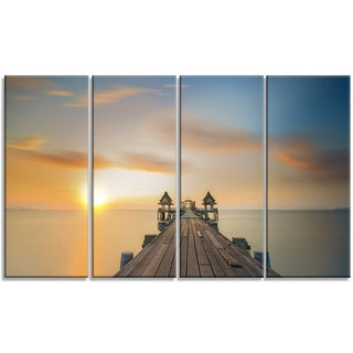 Designart - Infinity Bridge - 4 Panels Seascape Photography Canvas Art Print