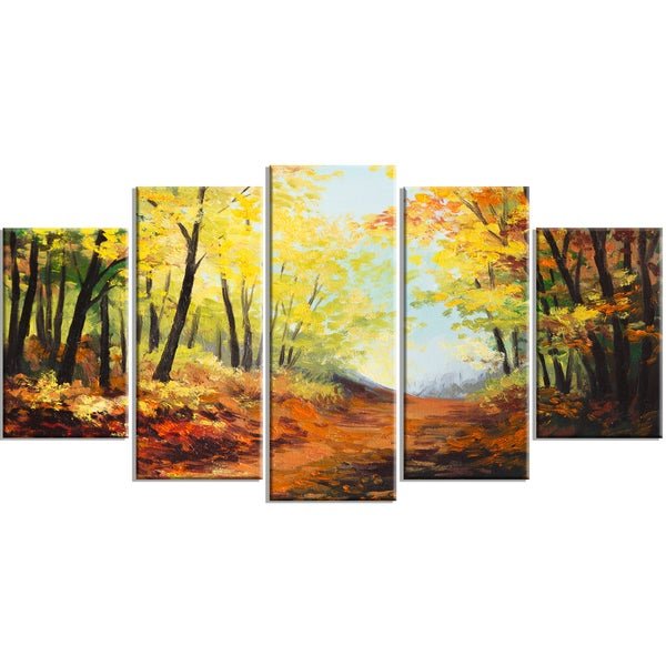 Designart - Autumn Forest Pathway - 5 Piece Landscape Canvas Wall ...