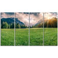 Designart - Triglav Mountain Panorama - 4 Panels Landscape Photo Canvas Print - Green