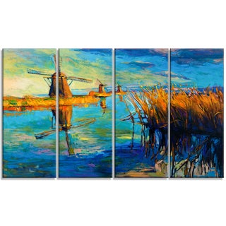Designart - Windmills with Sky and Water - 4 Piece Landscape Canvas Print