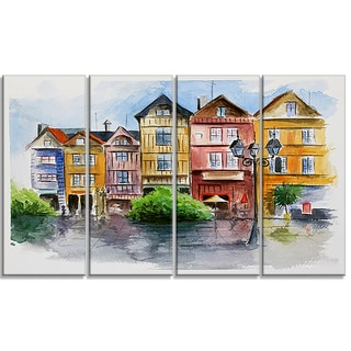 Designart - Little City in Watercolor - 4 Piece Landscape Canvas Print