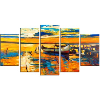 Designart - Boat and Jetty at Sunset - 5 Piece Landscape Canvas Artwork