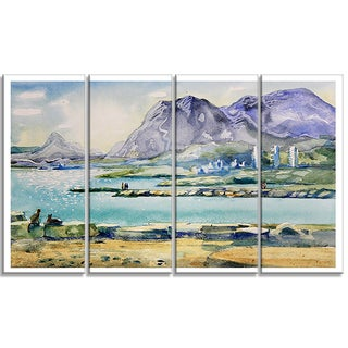 Designart - Watercolor Blue Hills - 4 Piece Landscape Canvas Art Print