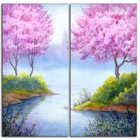 Designart - Flowering Trees Over Lake - 2 Piece Landscape Canvas Artwork - Pink