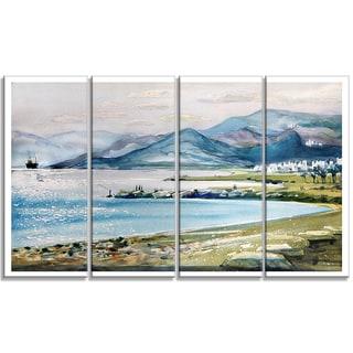 Designart - Blue Hills Over Sea - 4 Piece Landscape Canvas Print