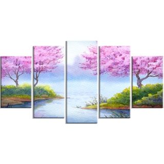 Designart - Flowering Trees Over Lake - 5 Piece Landscape Canvas Artwork