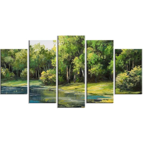 Designart - Summer Day Lake in Forest - 5 Piece Landscape Canvas Artwork Print - Green