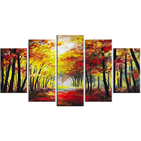 Designart - Walk Through Autumn Forest - 5 Piece Landscape Canvas Artwork