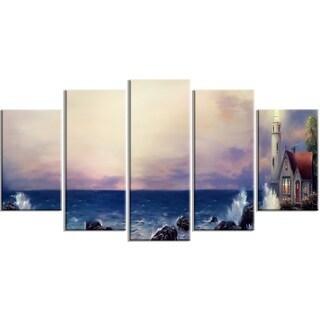 Designart - Lighthouse Sea Panoramic - 5 Piece Landscape Canvas Art Print