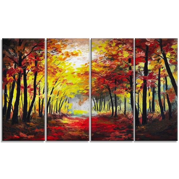 Designart - Walk Through Autumn Forest - 4 Piece Landscape Canvas Artwork - Red