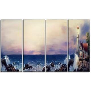 Designart - Lighthouse Sea Panoramic - 4 Piece Landscape Canvas Art Print