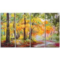 Designart - Colorful Autumn Forest - 4 Piece Landscape Canvas Artwork - YELLOW