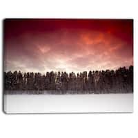 Designart - Sunset over Frozen Lake - Landscape Photo Canvas Print - Red