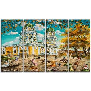 Designart - Old Church - 4 Piece Landscape Canvas Art Print