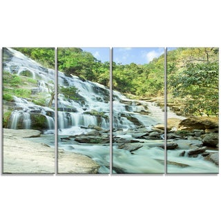 Designart - Maeyar Waterfall - 4 Panels Landscape Photography Canvas Print
