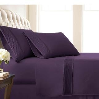 Vilano 21-inch Extra Deep Pocket Pleated Sheet Set (Full, Purple)