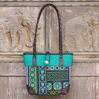 Handmade Cotton Leather 'Emerald Tribal Patchwork' Shoulder Bag (Thailand)