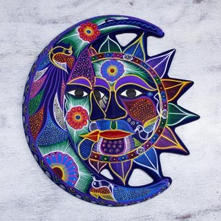 Handcrafted Ceramic 'Fantastical Eclipse' Wall Adornment (Mexico)
