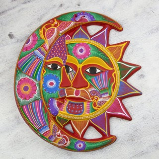 Handcrafted Ceramic 'Blossoming Eclipse' Wall Adornment (Mexico)