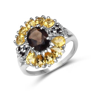 Malaika .925 Sterling Silver 2 4/5ct TGW Genuine Smoky Quartz/ Citrine/ Black Spinel Ring