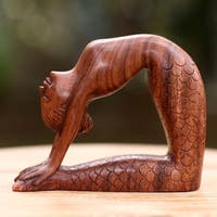 Handcrafted Suar Wood 'Ustrasana Mermaid' Sculpture (Indonesia)