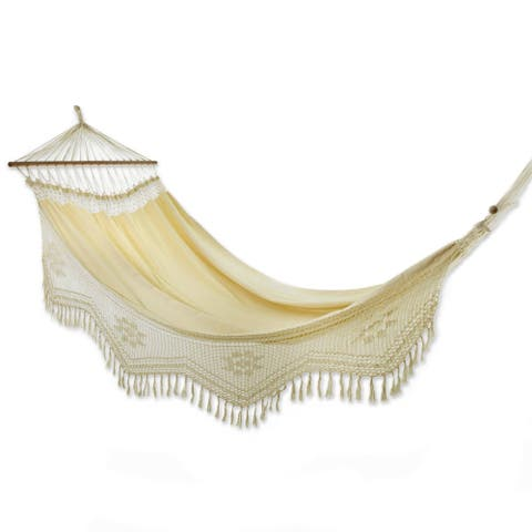 Handcrafted Cotton Tropical Nature Single Hammock (Brazil) - N/A