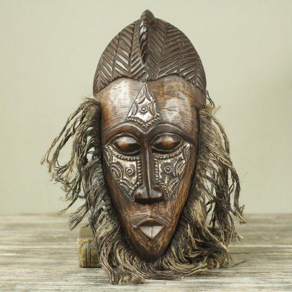 Handcrafted Sese Wood Aluminum 'Frafra Dancer' Mask (Ghana)