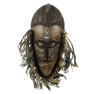Handcrafted Sese Wood Aluminum 'Frafra Dancer' Mask (Ghana)
