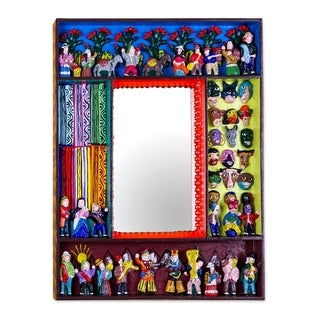 Handmade Ceramic 'Scenes from the Andes' Mirror (Peru) - Multi - N/A