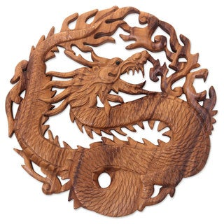 Handmade Suar Wood 'Dragon of Fire' Relief Panel (Indonesia)
