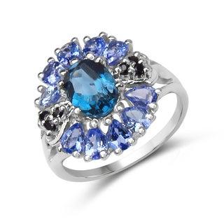 Malaika .925 Sterling Silver 3ct TGW Genuine London Blue Topaz, Tanzanite and Black Spinel Ring