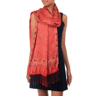 Handmade Silk 'Romantic Sunset' Batik Scarf (Indonesia)